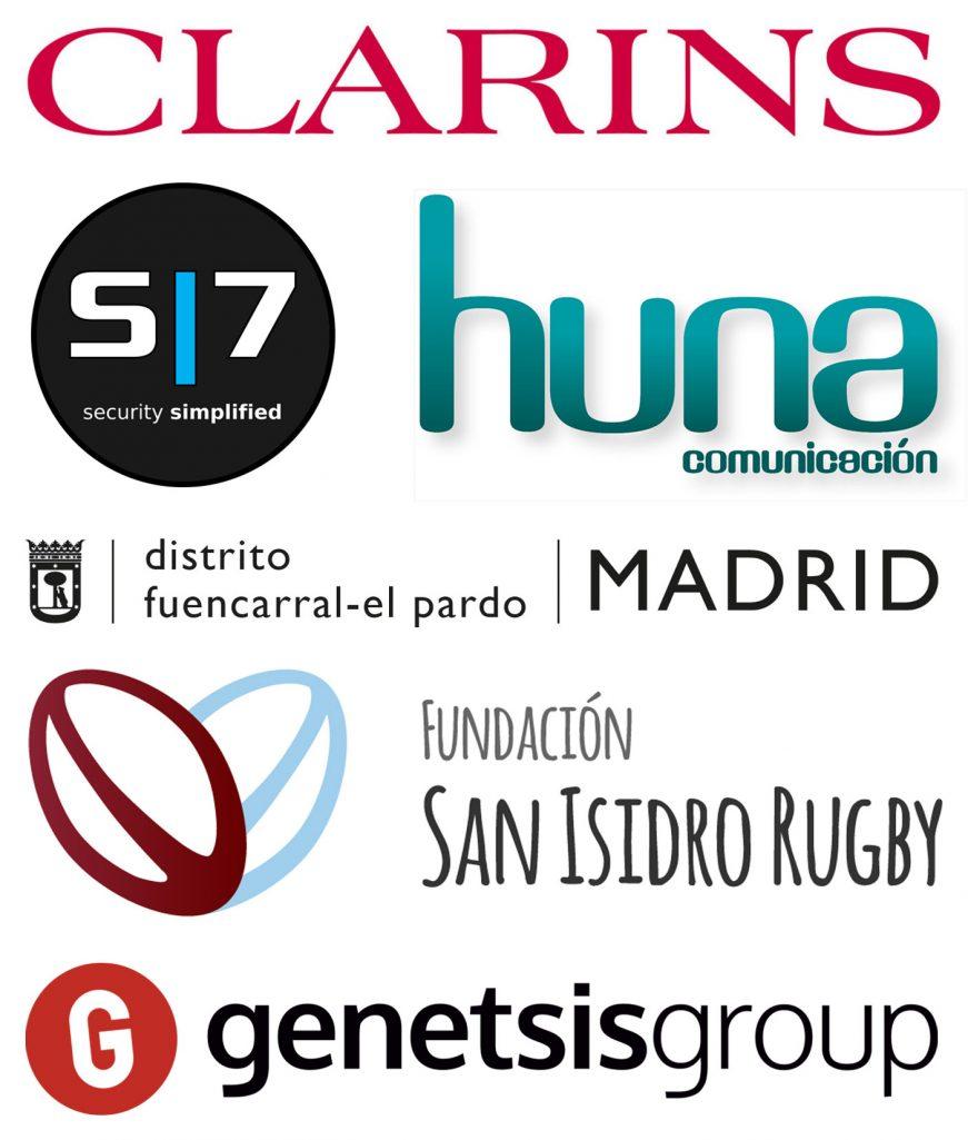 Patrocinan Clarins, S7, Huna Comunicación. Colaboran Distrito Fuencarral-El Pardo, Fundación San Isidro Rugby, Genetsis Group